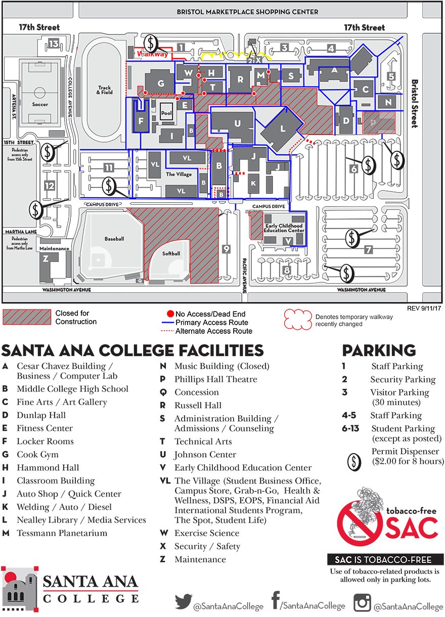 santa ana college maps