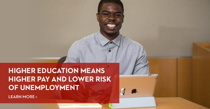 Higher Education means higher pay and lower risk of unemployment