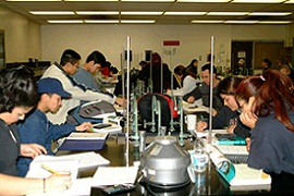 Students working inside of a Chemistry Lab