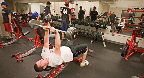 The SAC baseball team works out in the weight room before practice