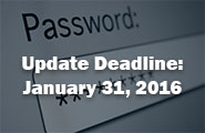 Password Update Deadline - January 31, 2016