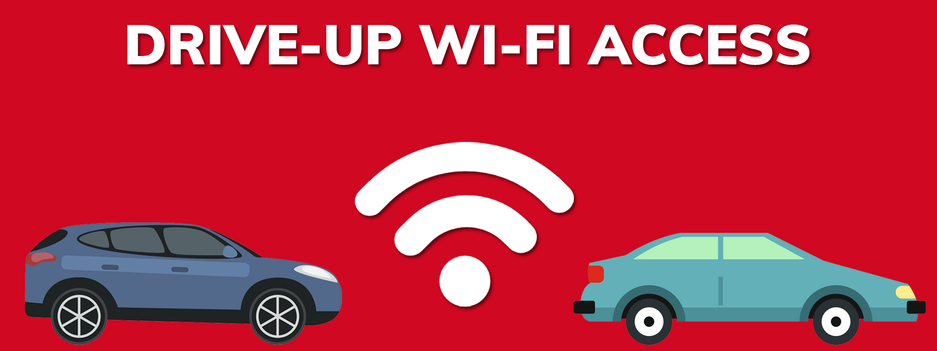drive-up wi-fi access with image of two cars and internet signal